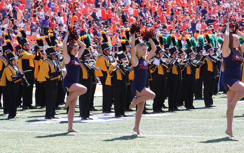 A view from the right side of the EPHS Band performing during halftime at Memorial Stadium. They are facing west in formation.