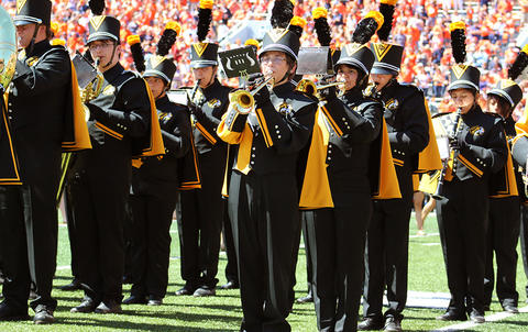 A front view of the EPHS Band as they face east in Memorial Stadium.