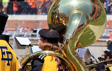 A view from the left side of an EPHS tuba player as she faces west during halftime at Memorial Stadium.