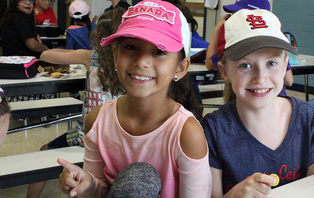 Elmwood students wear hats to school as part of a fundraiser for Hurricane Harvey relief.