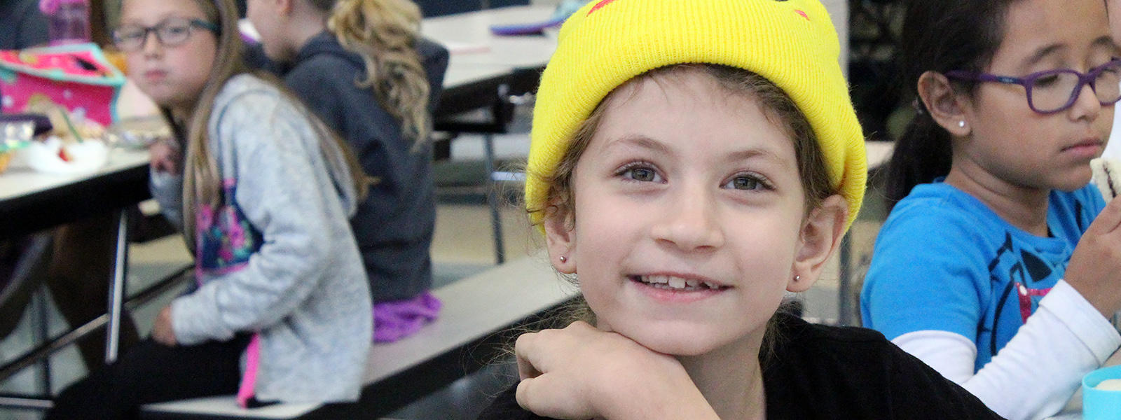 "An Elmwood student wears the hat she wore to school as part of the ""Hats for Houston"" fundraiser."