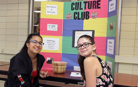 Student members of Culture Club are ready to answer questions during EPHS Open House 2017.