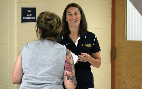 PE teacher Nicole Franklin talks with a parent during EPHS Open House 2017.