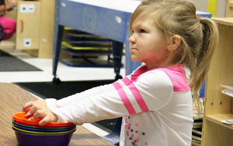 A student looks on while attending the Early Childhood Center's Fall 2017 Open House.