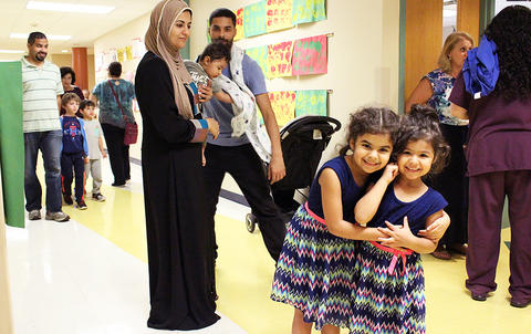 Students and parents attend the Early Childhood Center's Fall 2017 Open House.