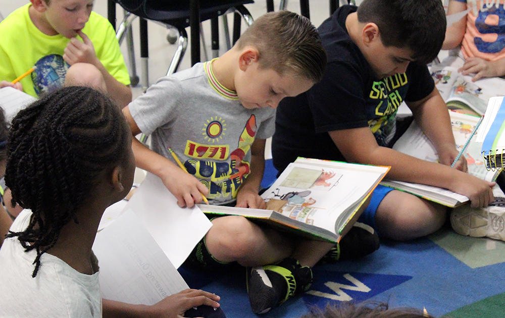 Second-grade students at Elmwood read during class.