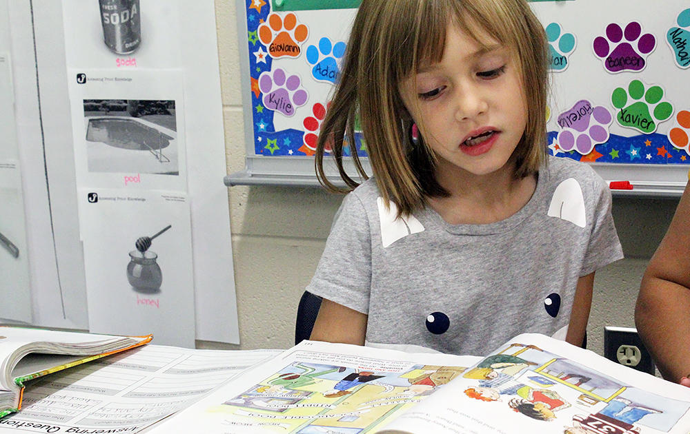 An Elmwood 2nd-grade student reads in class.