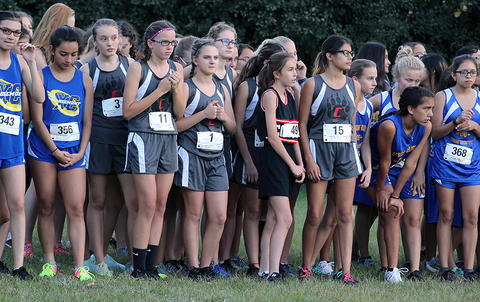 Runners at the starting line for the 7th/8th-grade girls race.