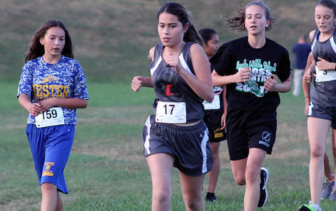 Elm runner midway through the girls race.