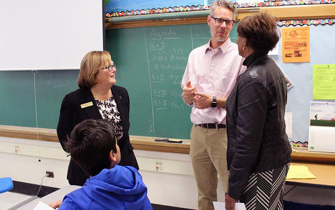 State Rep. Lilly (right) and Dr. Porreca with social studies teacher Mr. Christian Hartwig.