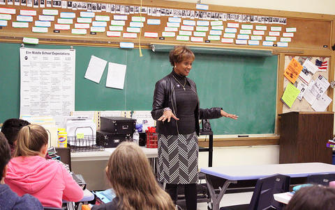 State Rep. Lilly speaking to Ms. Susan Hawes' students.