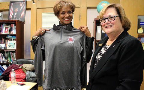 State Rep. Camille Lilly (left) with Elm Principal Dr. Kathleen Porreca.