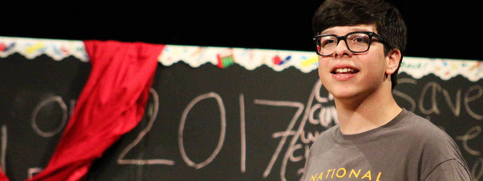 "Senior Michael Matos rehearses his role as Jesus in the EPHS production of ""Godspell."""