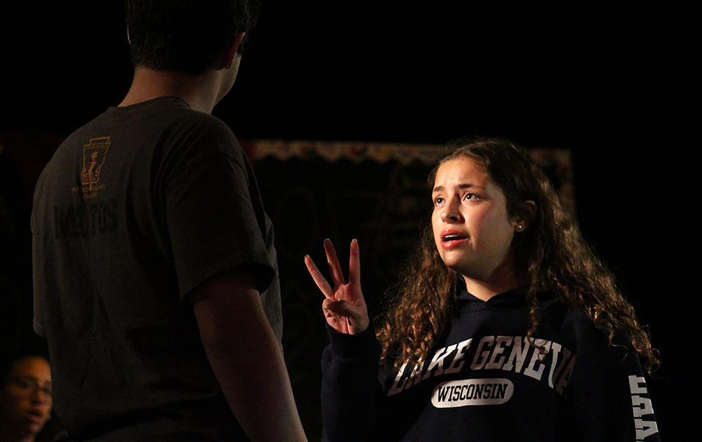 "Elizabeth Goranson, an EPHS junior, sings ""Day by Day"" to senior Michael Matos, who portrays Jesus in the EPHS production of ""Godspell."" The musical will be performed Friday, Saturday and Sunday (Oct 27-29) in the EPHS Auditorium."