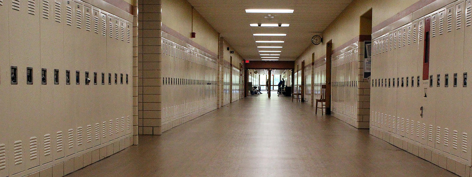 A hallway at Elmwood Park High School is empty during class time.