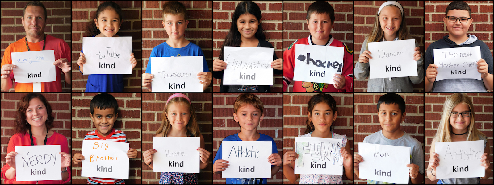"Two rows of photos depict Elmwood students and staff members holding up signs as part of the school's ""All Kinds of Kinds"" project."