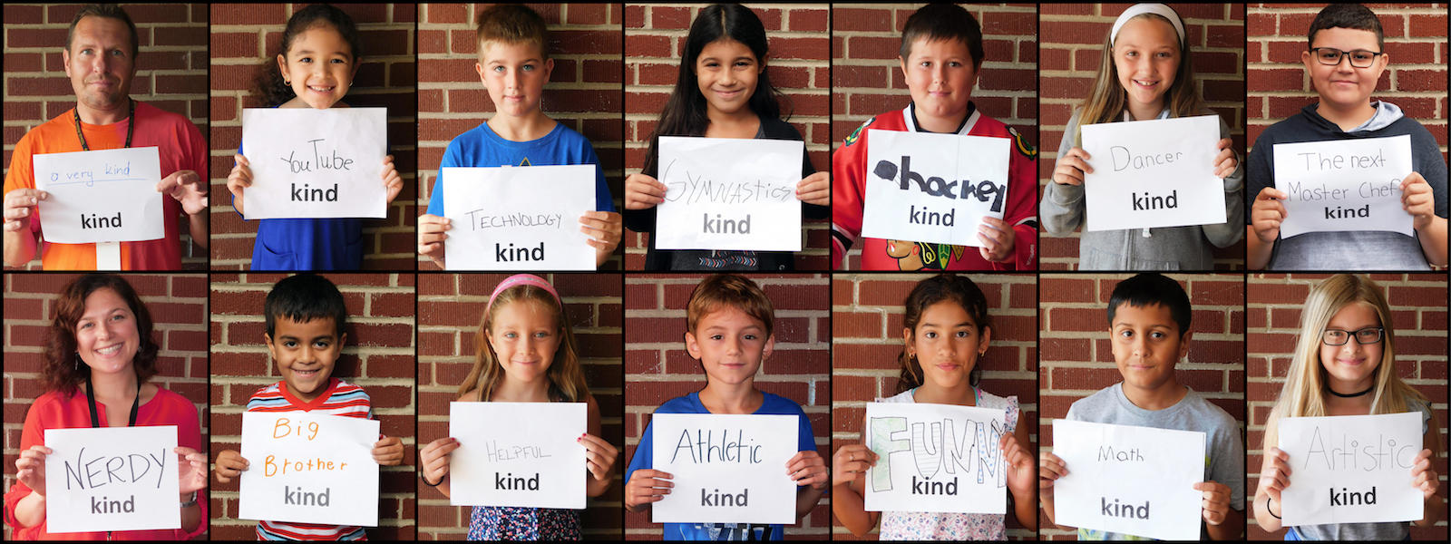"Elmwood students display signs as part of the ""All Kinds of Kinds"" project."