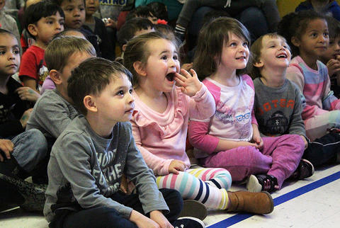 ECC students watch puppeteer Dave Herzog's marionette show on Nov. 20.