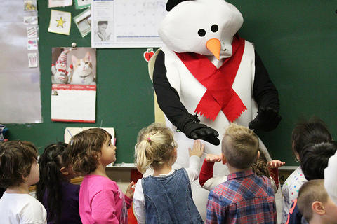 Frosty the Snowman visits an ECC classroom.