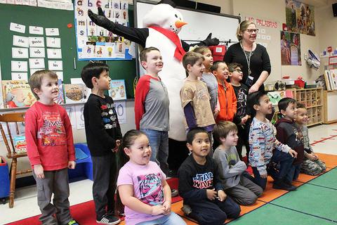 Frosty the Snowman visits an ECC classroom.