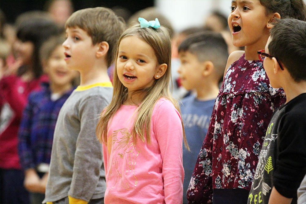 "Elmwood students join in a sing-along of ""Jingle Bells"" at the school's 2017 Winter Concert."