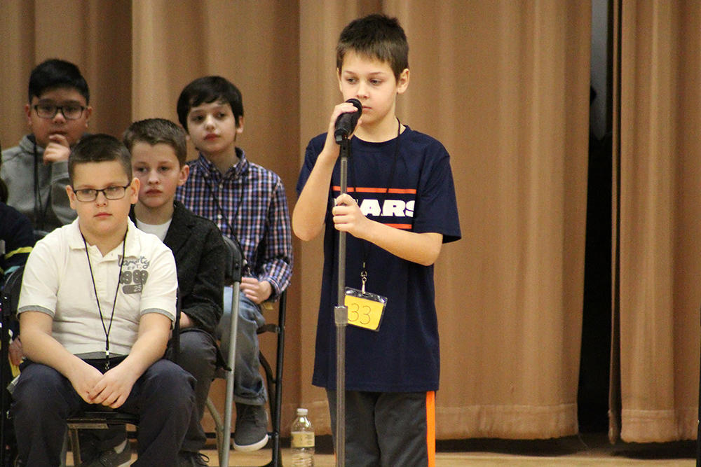 Students from Elmwood and John Mills Elementary Schools compete in the 2018 District Spelling Bee.
