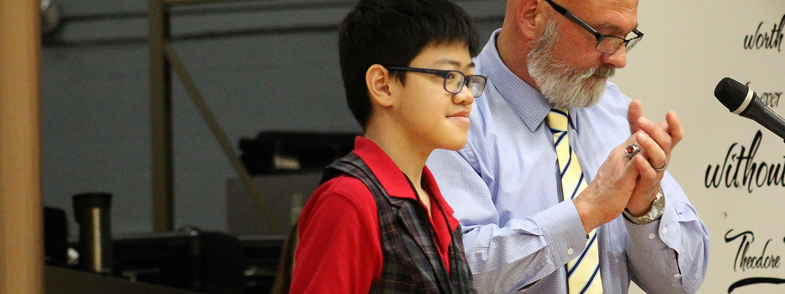 Andrew Ticao wins the District Spelling Bee for the third year in a row.
