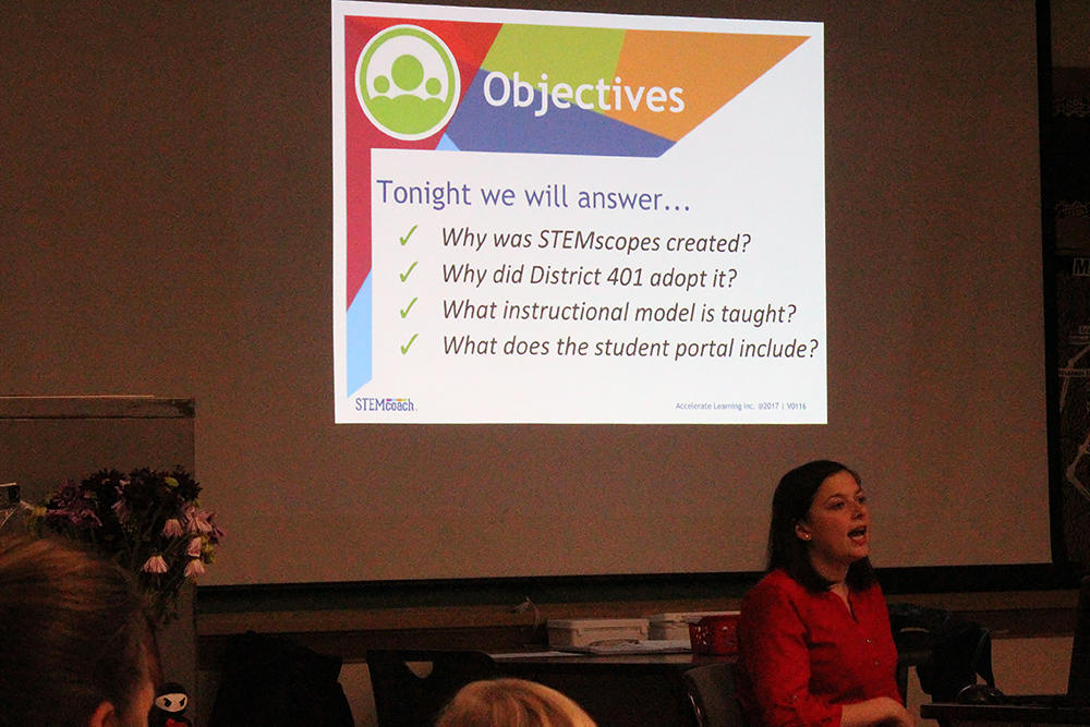 Elmwood teacher Ms. Morgan Freeck gives a slide presentation about STEMscopes.