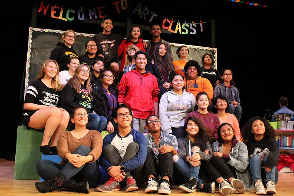 "Members of the ""Godspell"" crew gather for a group photo."