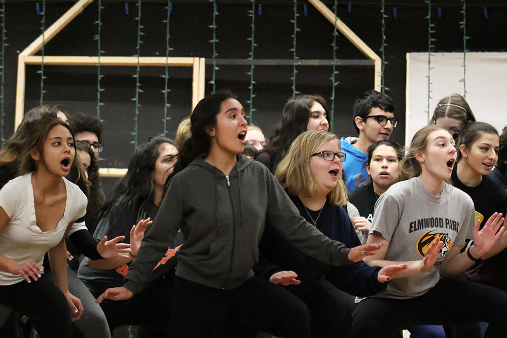 "Students rehearse ""Cinderella,"" the 2018 EPHS Spring Musical."