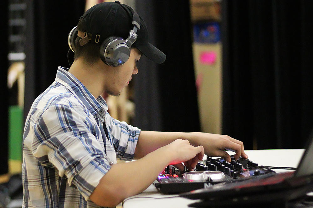 Justin Eigenbauer at work DJing a recent event.