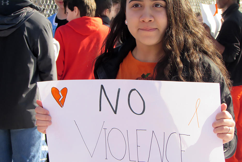 Elm students participate in the National School Walkout.