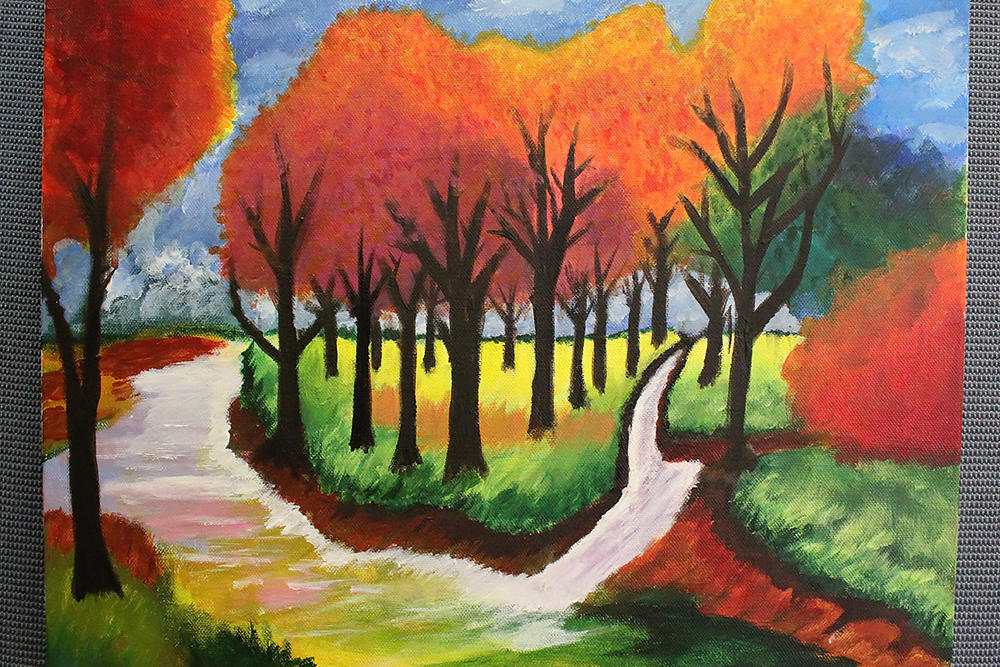 "Natalie Alvarado, ""The River,"" third place, acrylic paint"