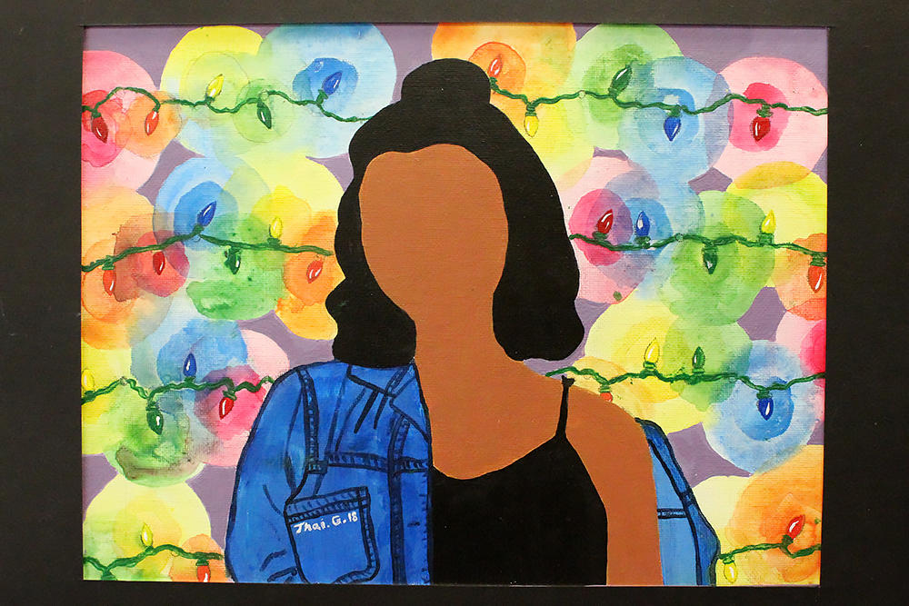 "Thailyn Gonzalez, ""Things He Can't See,"" third place, acrylic paint"
