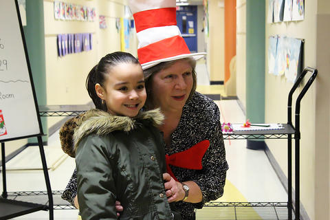 ECC students participate in Dr. Seuss Family Night.