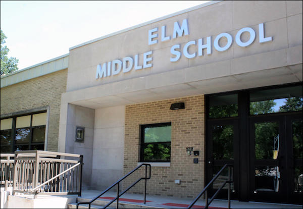 The front entrance of Elm Middle School.