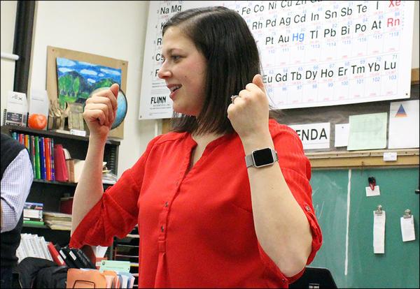 ISBE award winner Ms. Morgan Freeck speaks at last year's STEMscopes event.