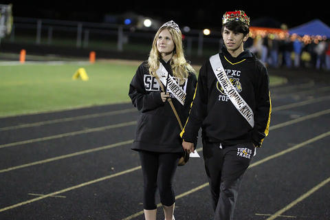 Homecoming Game: Senior Homecoming Queen and King at Halftime