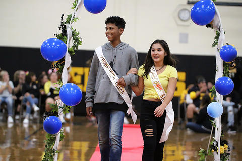 Black & Gold Day Pep Assembly: Richard Tineo and Adreana Duarte, Freshman Prince and Princess