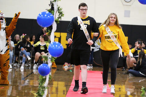 Black & Gold Day Pep Assembly: Michael Velazquez and Tiffany Vujnovich, Sophomore Prince and Princess