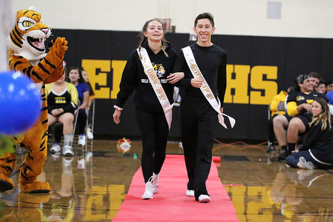 Black & Gold Day Pep Assembly: Valentyna Bednarchuk and Luis E. Gomez, Junior Princess and Prince