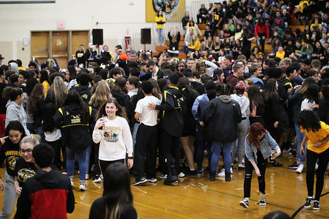 Black & Gold Day Pep Assembly: Dance Off Ends — and the Lights Return