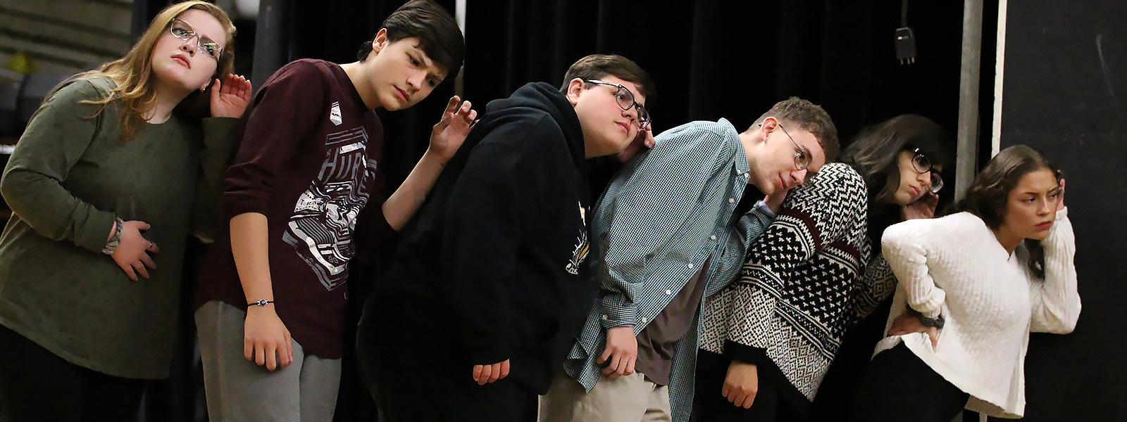 "Cast members rehearse a scene from the 2018 EPHS Fall Play, ""Clue: On Stage."""