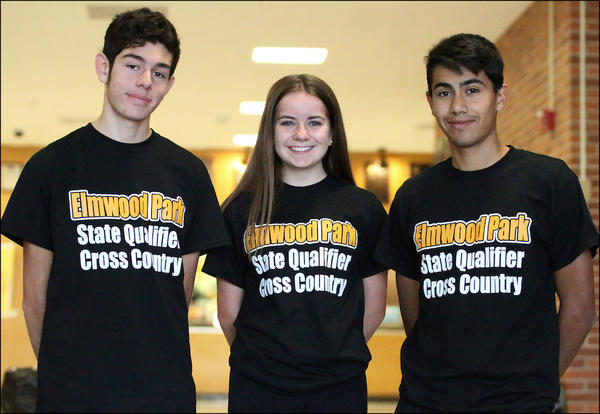 Senior Khris Vicencio, junior Gabi Szado and senior Carlos Sanchez gather for a group photo before leaving for the 2018 IHSA Class 2A cross country state meet in Peoria.