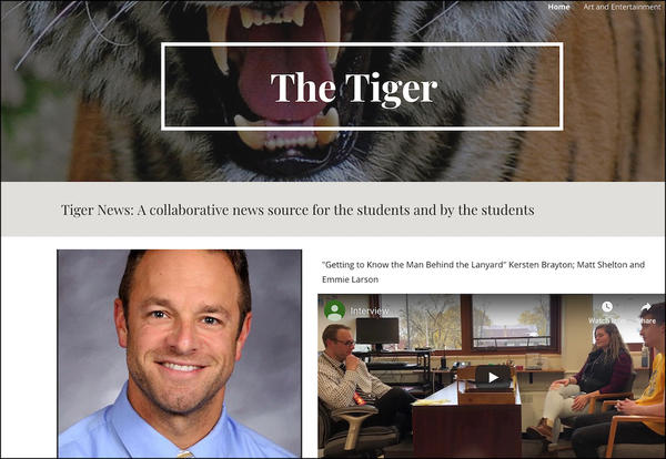 The home page of The Tiger, EPHS's new online student newspaper.