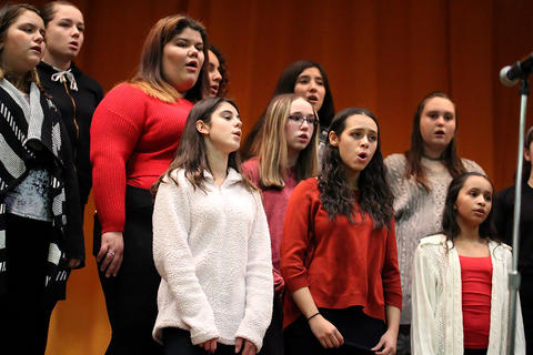 The Elm Choir performs at the school's 2018 Winter Concert.