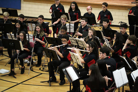 The Elm Concert Band performs at the school's 2018 Winter Concert.