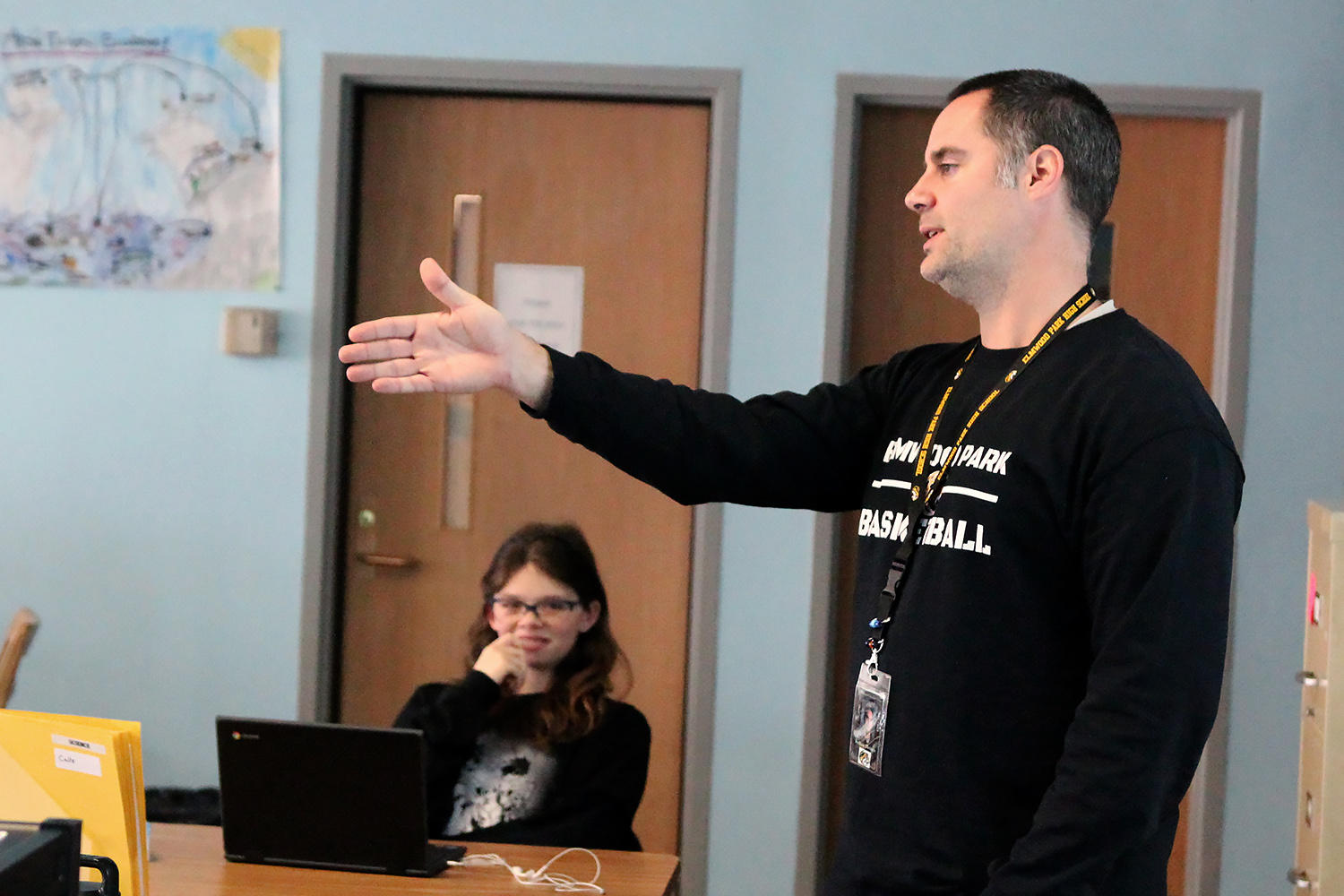 Mr. Joshua Heinen teaches a science class.