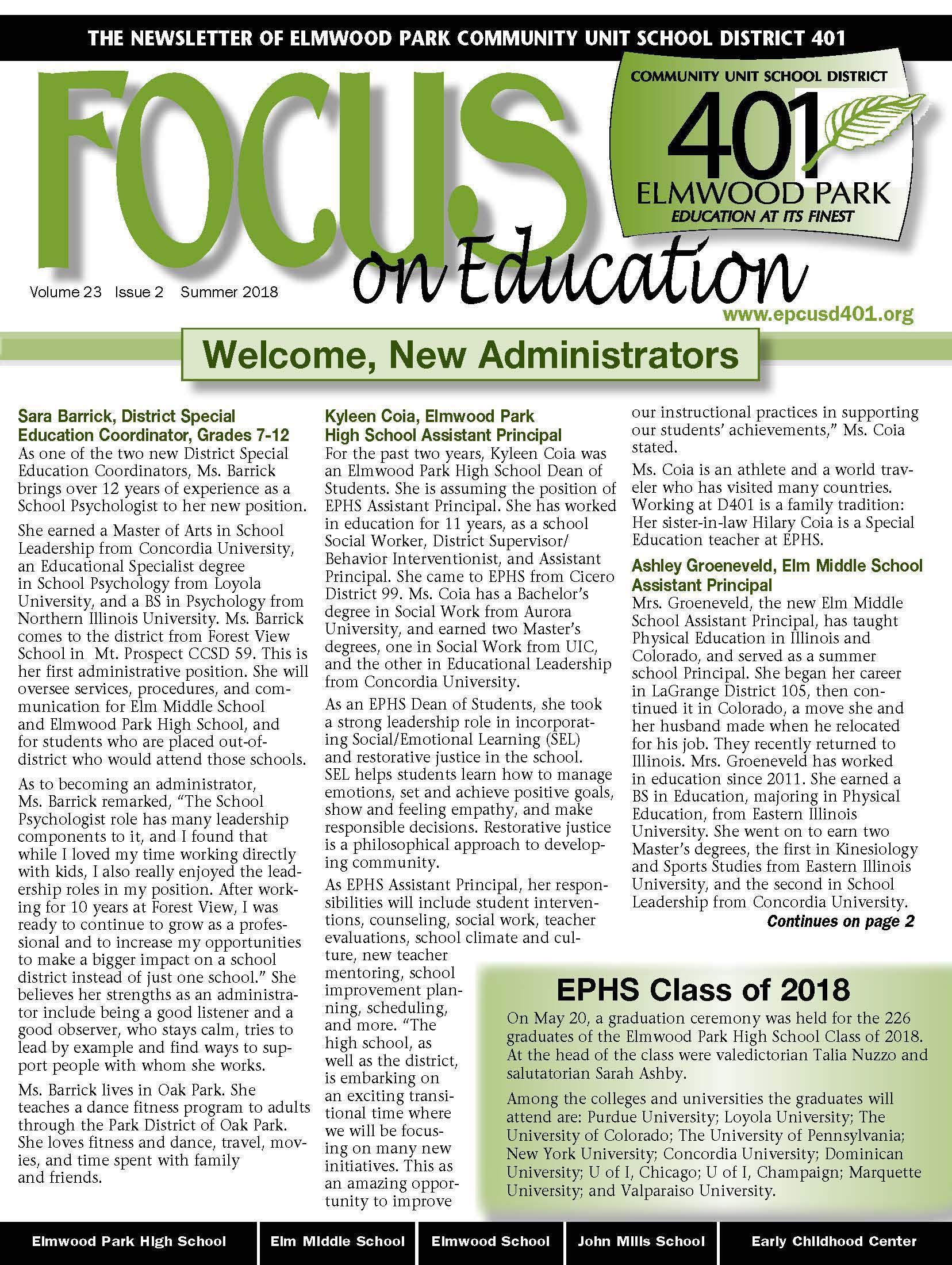 Focus on Education newsletter, page 1