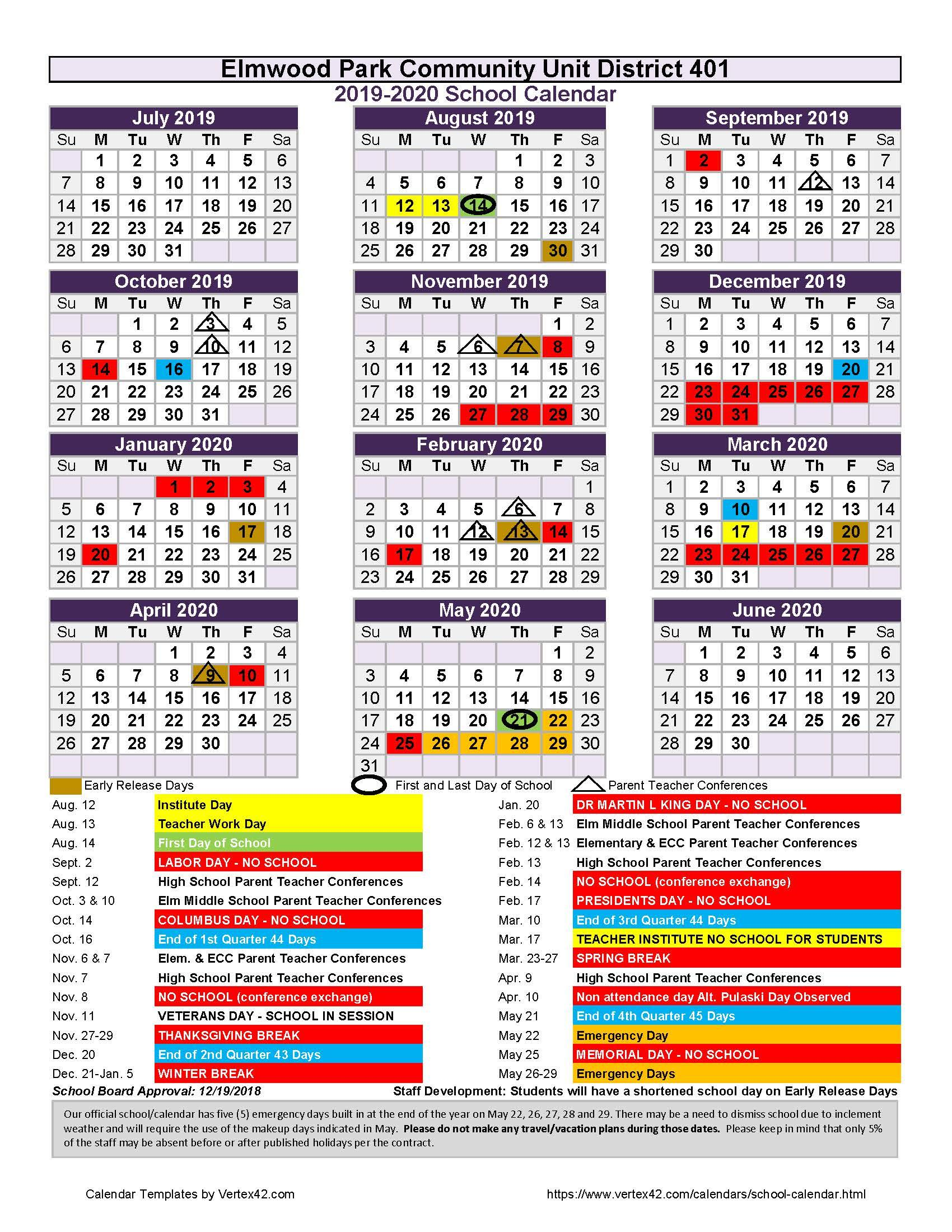 2019-20 official school calendar for District 401